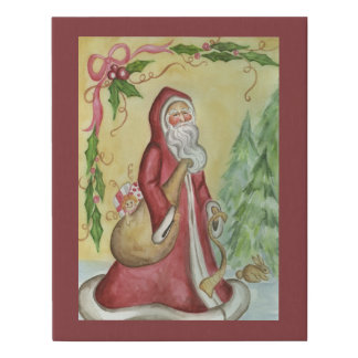 Father Christmas Faux Canvas Print Holiday Decor