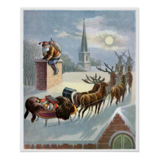 Father Christmas going down the Chimney Print