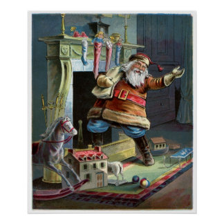Father Christmas going up the Chimney Poster