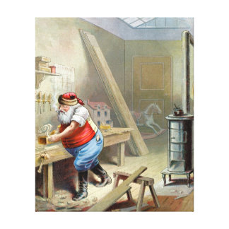 Father Christmas in his workshop Canvas Print