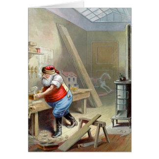 Father Christmas in his workshop Card