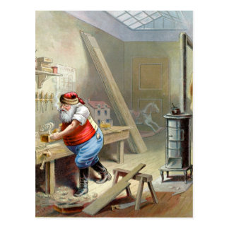 Father Christmas in his workshop Postcard