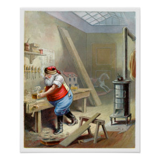Father Christmas in his workshop Print