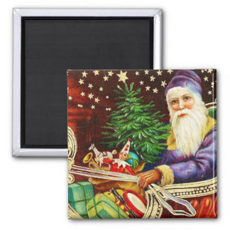 Father Christmas in Sleigh Vintage Magnet