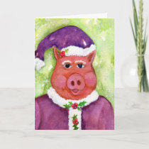 Father Christmas Pig in Purple Holiday CARD