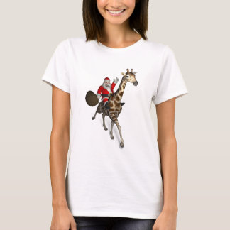 Father Christmas Riding A Giraffe T-Shirt