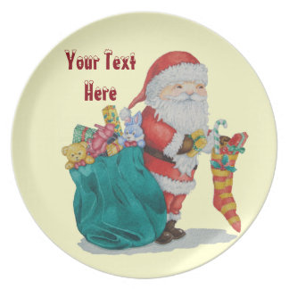 father christmas striped stocking wrapped gifts melamine plate
