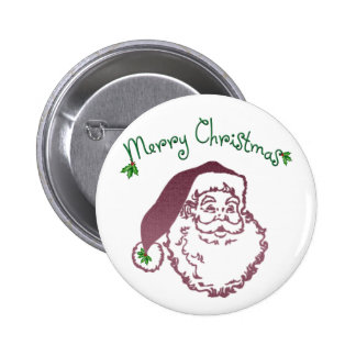 Father Christmas Traditional Art Pinback Button