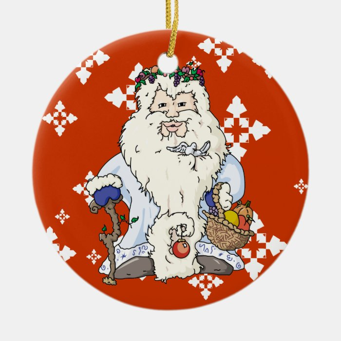Father Christmas w/blue gloves Ceramic Ornament