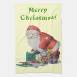 father Christmas with gifts art Kitchen Towels