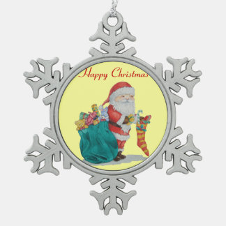 Father Christmas with toys and gifts in sack Ornaments