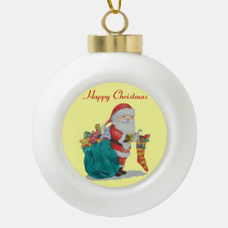 Father Christmas with toys and gifts in sack Ornament