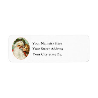 Father Christmas With Young Girl Vintage Label