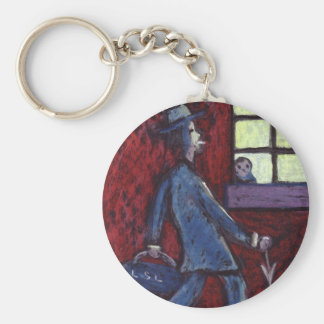 FATHER COMING HOME DRUNK BASIC ROUND BUTTON KEYCHAIN