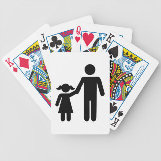 Father dad daughter girl bicycle playing cards