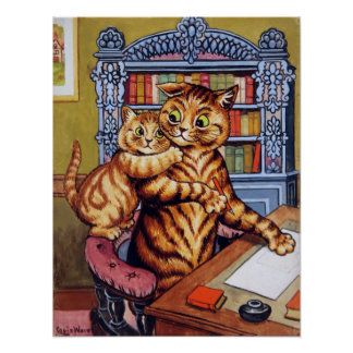 Father(Daddy) cat, Louis Wain Poster