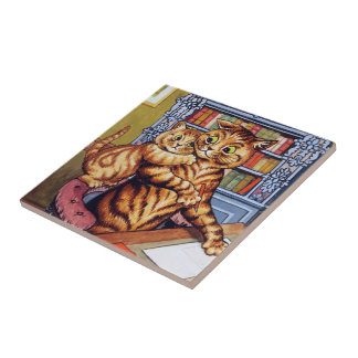 Father(Daddy) cat, Louis Wain Tile
