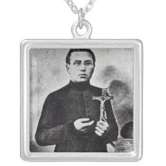Father Damien Square Pendant Necklace