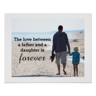 Father Daughter Beach Walkers Poster
