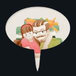 "Father &amp; daughter cake topper<br><div class=""desc"">Father &amp; daughter illustration picture frame</div>"