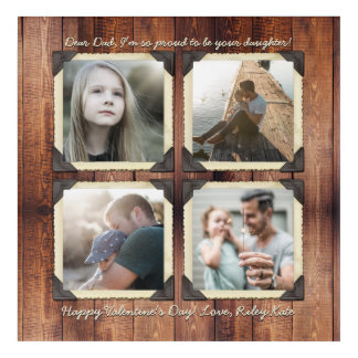 Father Daughter Personalized Instagram Photo Grid Acrylic Wall Art