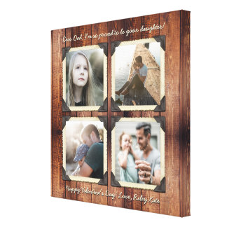 Father Daughter Personalized Instagram Photo Grid Canvas Print