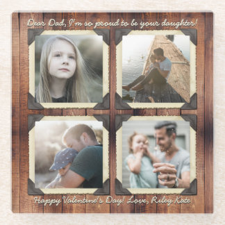 Father Daughter Personalized Instagram Photo Grid Glass Coaster