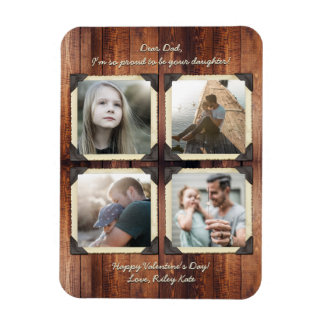Father Daughter Personalized Instagram Photo Grid Magnet