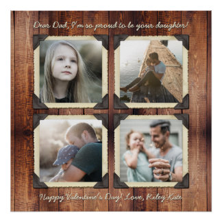 Father Daughter Personalized Instagram Photo Grid Poster