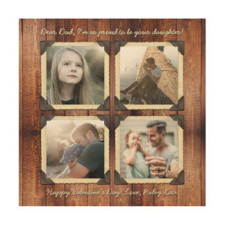 Father Daughter Personalized Instagram Photo Grid Wood Wall Art