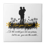Father Day quote Small Square Tile