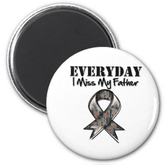 Father - Everyday I Miss My Hero Military 2 Inch Round Magnet