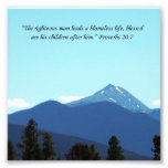 Father Gift Proverbs 20:7 Scripture Mountain Print Photo