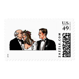 Father Giving Away the Bride White Wedding Stamps