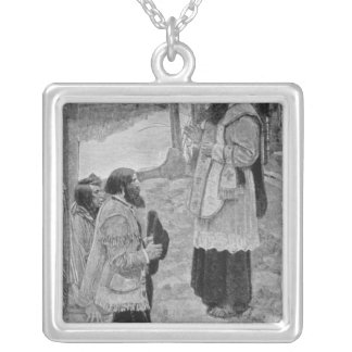 Father Hennepin Celebrating Mass Square Pendant Necklace