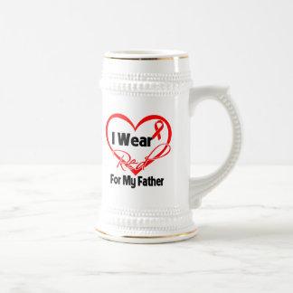 Father - I Wear a Red Heart Ribbon Mug