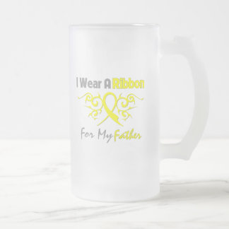 Father - I Wear A Yellow Ribbon Military Support Frosted Glass Beer Mug