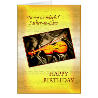 Father-in-law birthday card with a violin