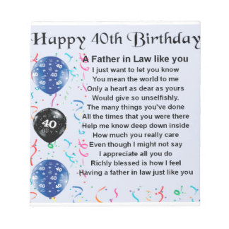 Father in Law Poem  -  40th Birthday Notepad