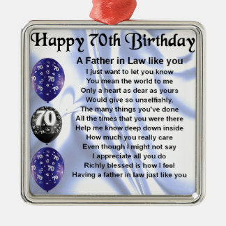 Father in Law Poem - 70th Birthday Metal Ornament