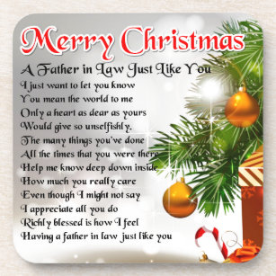 father in law poem christmas design beverage coaster - What To Get Father In Law For Christmas
