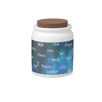 Father in many different world languages - Blue Candy Jar
