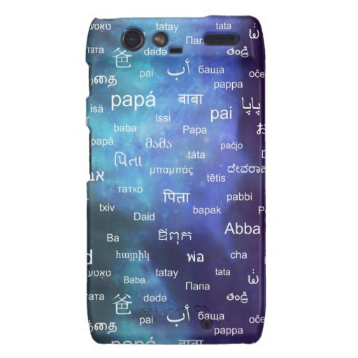 Father in many different world languages - Blue Motorola Droid RAZR Cases