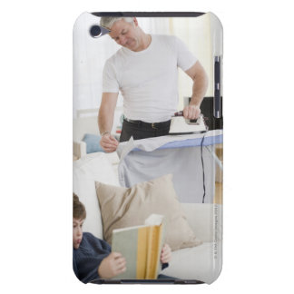 Father ironing iPod touch case