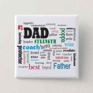 Father Mentor Coach Word Cloud Pinback Button
