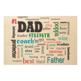 Father Mentor Coach Word Cloud Wood Wall Decor
