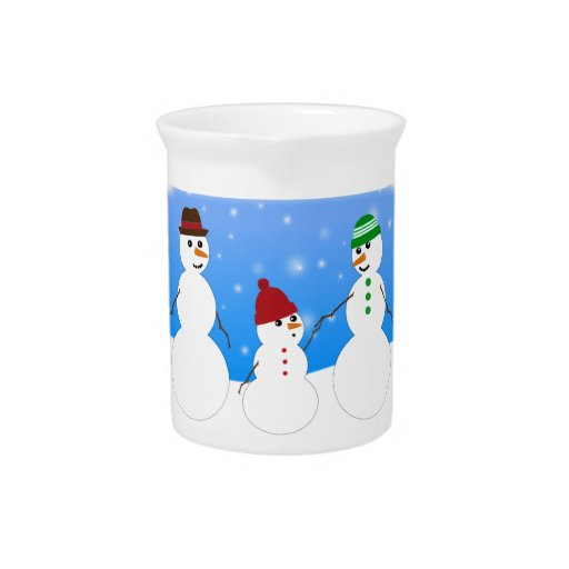 Father, Mother and Baby- Snowman Family Pitchers