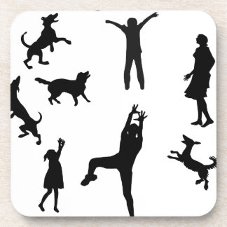 Father,mother,kids,pet Dogs playing ball,family Beverage Coaster