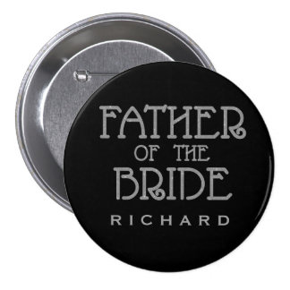 Father of Bride Silver Faux Glitter Name Tag Pin