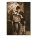 Father Of The Artist Reading by Cezanne, Fine Art Greeting Card